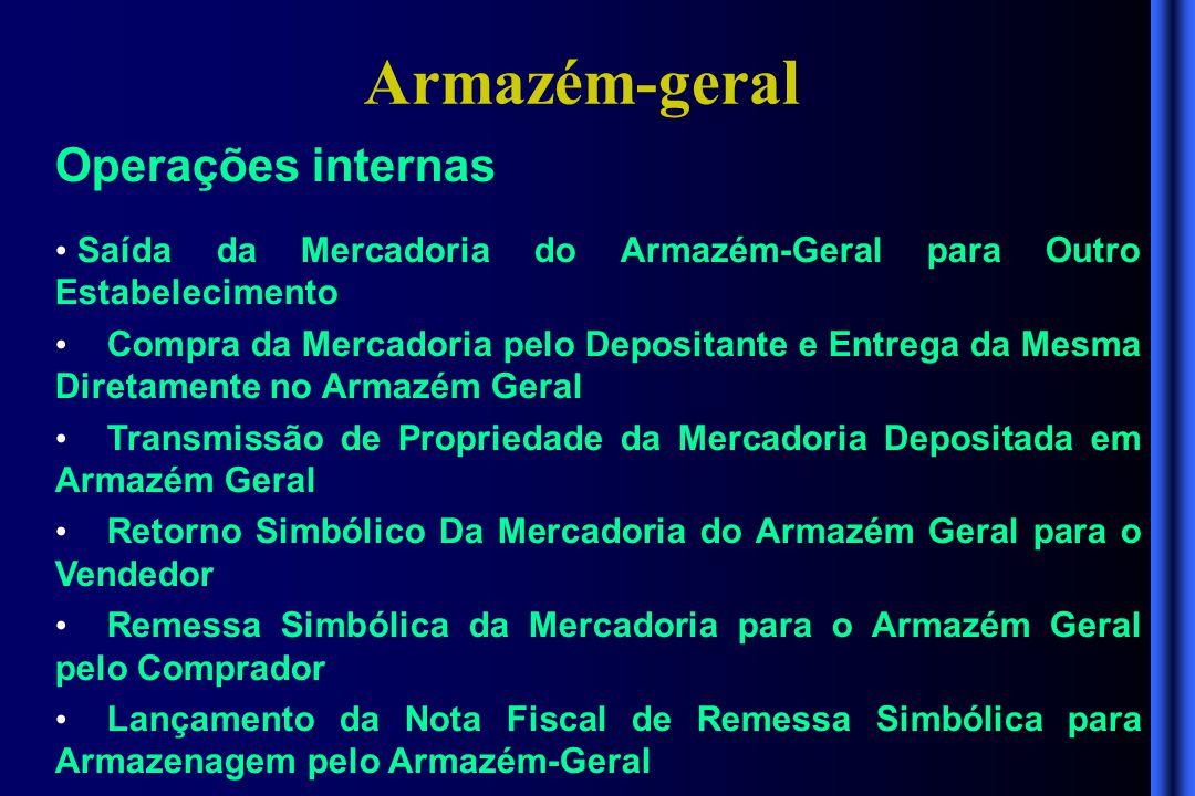 Armazém-geral Operações internas • Saída da Mercadoria do Armazém-Geral para Outro Estabelecimento • Compra da Mercadoria pelo Depositante e Entrega d