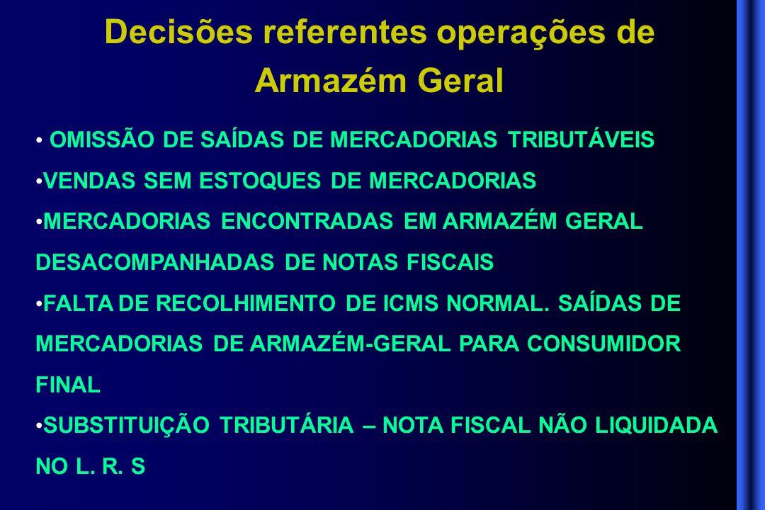 Decisões referentes operações de Armazém Geral • OMISSÃO DE SAÍDAS DE MERCADORIAS TRIBUTÁVEIS • VENDAS SEM ESTOQUES DE MERCADORIAS • MERCADORIAS ENCON