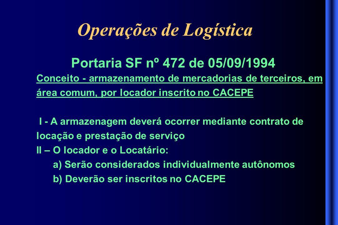 Operações de Logística Portaria SF nº 472 de 05/09/1994 Conceito - armazenamento de mercadorias de terceiros, em área comum, por locador inscrito no C