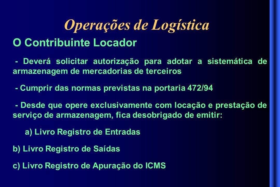 Operações de Logística O Contribuinte Locador - Deverá solicitar autorização para adotar a sistemática de armazenagem de mercadorias de terceiros - Cu