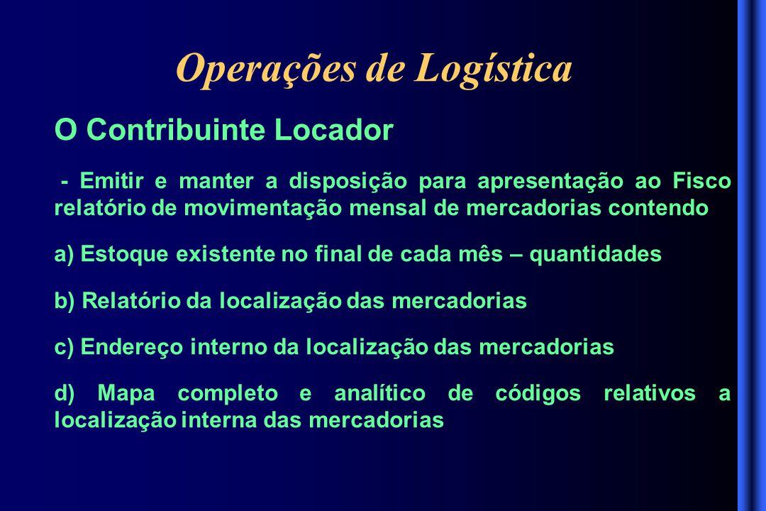 Operações de Logística O Contribuinte Locador - Emitir e manter a disposição para apresentação ao Fisco relatório de movimentação mensal de mercadoria