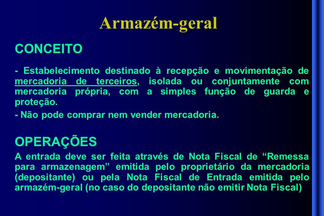 Armazém-geral CONCEITO - Estabelecimento destinado à recepção e movimentação de mercadoria de terceiros, isolada ou conjuntamente com mercadoria própr