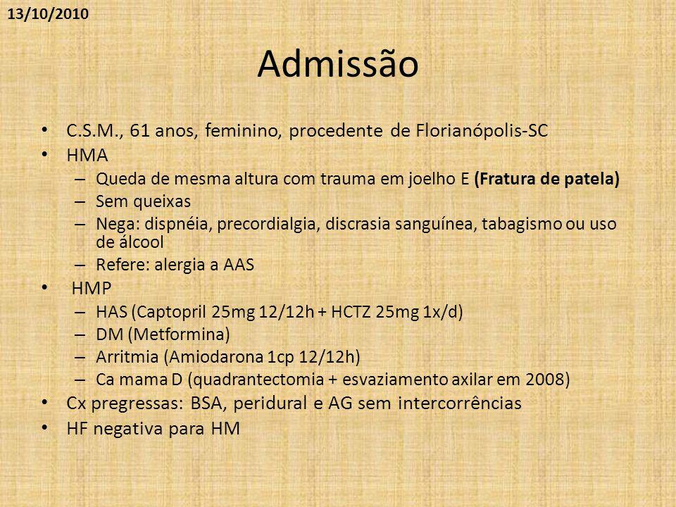 Exame físico • BEG, LOC, Peso=70kg • C/P: Mallampati I, DTM>6cm, boa abertura oral • AP: sp • AC: sp • Membros: sem edema, ausência de empastamento em MMII • ***Não puncionar MSD em função do esvaziamento axilar e risco de linfedema/erisipela (sic)