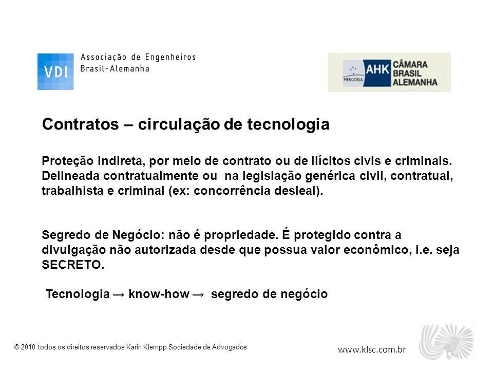 www.klsc.com.br © 2010 todos os direitos reservados Karin Klempp Sociedade de Advogados Contratos – circulação de tecnologia Proteção indireta, por me