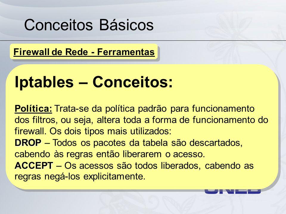 Conceitos Básicos Iptables – Conceitos: Política: Trata-se da política padrão para funcionamento dos filtros, ou seja, altera toda a forma de funciona