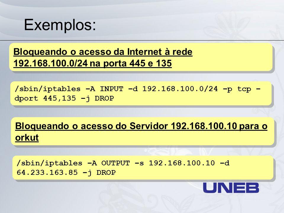 Exemplos: /sbin/iptables –A INPUT –d 192.168.100.0/24 –p tcp – dport 445,135 –j DROP Bloqueando o acesso da Internet à rede 192.168.100.0/24 na porta