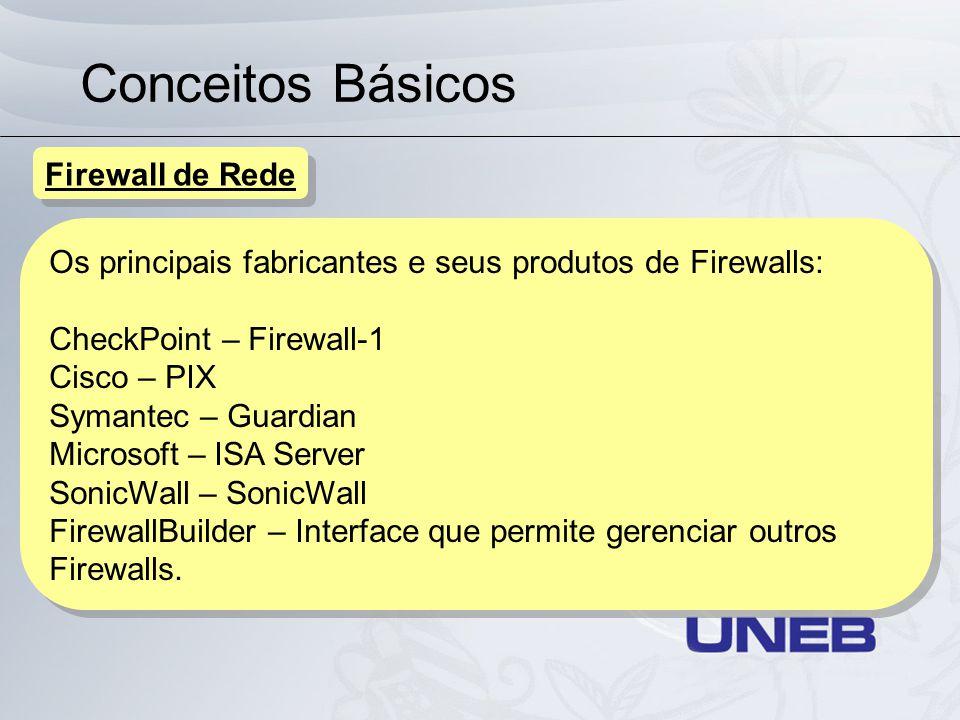 Conceitos Básicos Os principais fabricantes e seus produtos de Firewalls: CheckPoint – Firewall-1 Cisco – PIX Symantec – Guardian Microsoft – ISA Serv