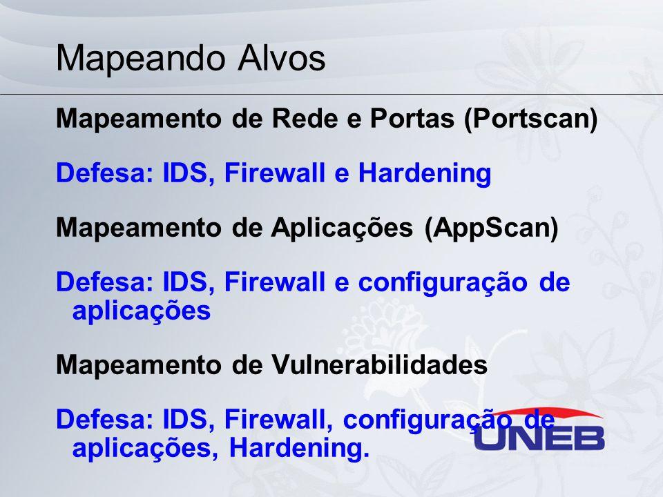 Mapeando Alvos Mapeamento de Rede e Portas (Portscan) Defesa: IDS, Firewall e Hardening Mapeamento de Aplicações (AppScan) Defesa: IDS, Firewall e con
