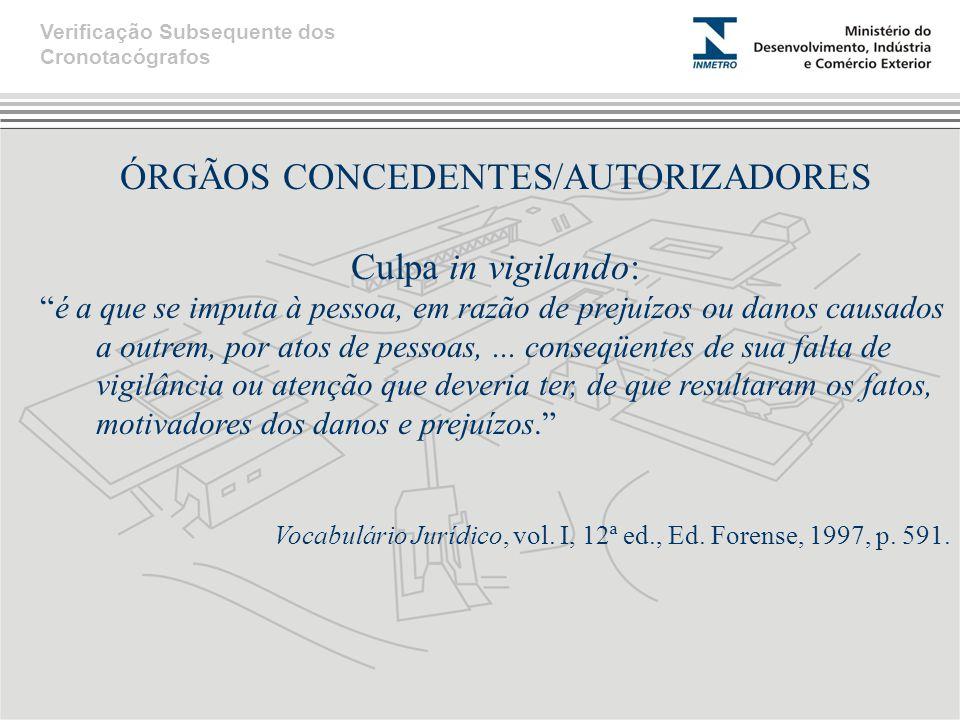 """ÓRGÃOS CONCEDENTES/AUTORIZADORES Culpa in vigilando: """"é a que se imputa à pessoa, em razão de prejuízos ou danos causados a outrem, por atos de pessoa"""