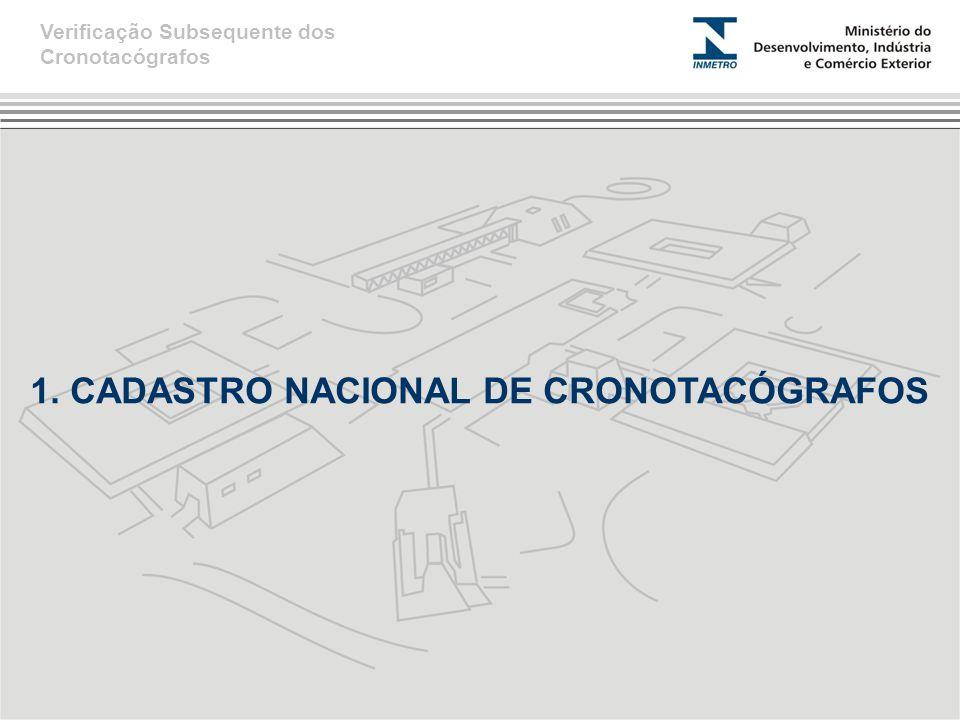 1. CADASTRO NACIONAL DE CRONOTACÓGRAFOS Verificação Subsequente dos Cronotacógrafos