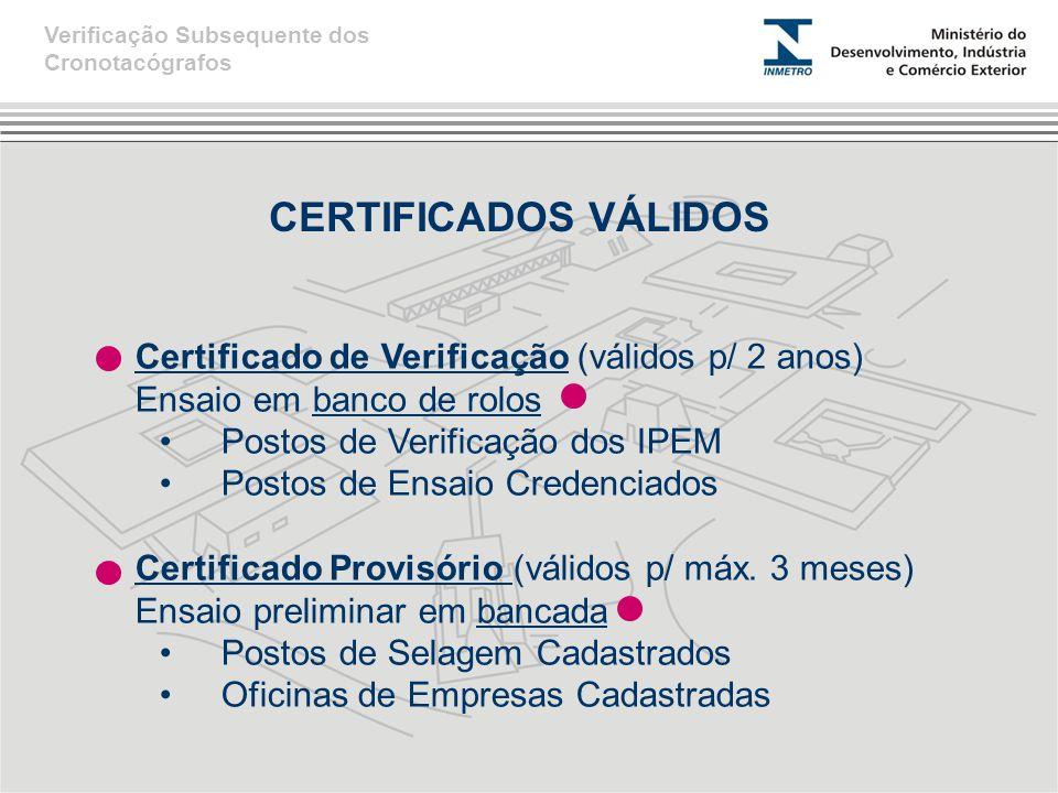 CERTIFICADOS VÁLIDOS Certificado de Verificação (válidos p/ 2 anos) Ensaio em banco de rolos •Postos de Verificação dos IPEM •Postos de Ensaio Credenc