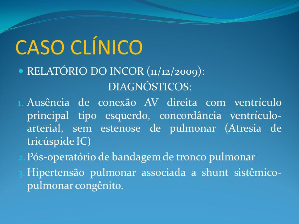 CASO CLÍNICO  RELATÓRIO DO INCOR (11/12/2009): DIAGNÓSTICOS: 1. Ausência de conexão AV direita com ventrículo principal tipo esquerdo, concordância v