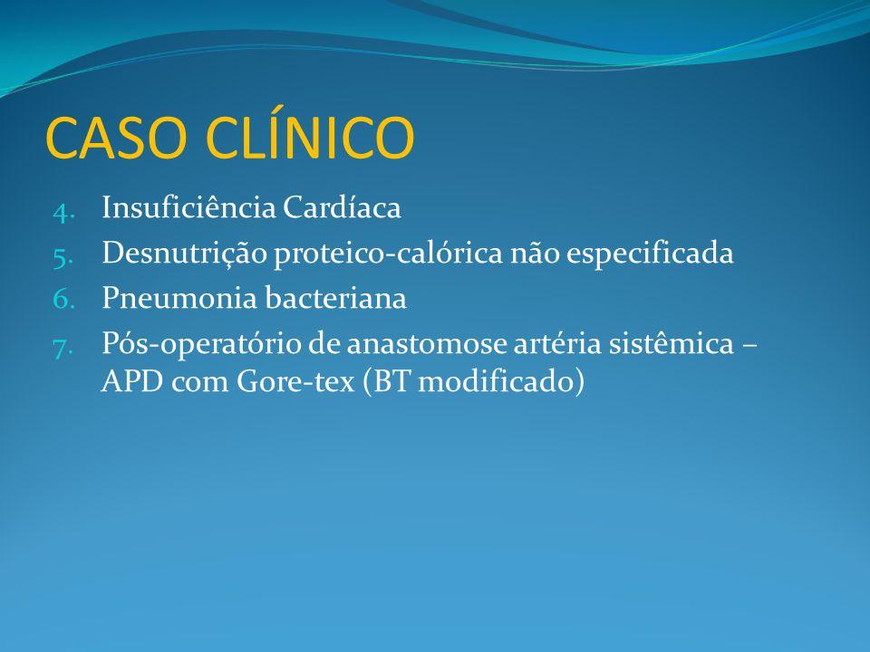CASO CLÍNICO 4. Insuficiência Cardíaca 5. Desnutrição proteico-calórica não especificada 6. Pneumonia bacteriana 7. Pós-operatório de anastomose artér