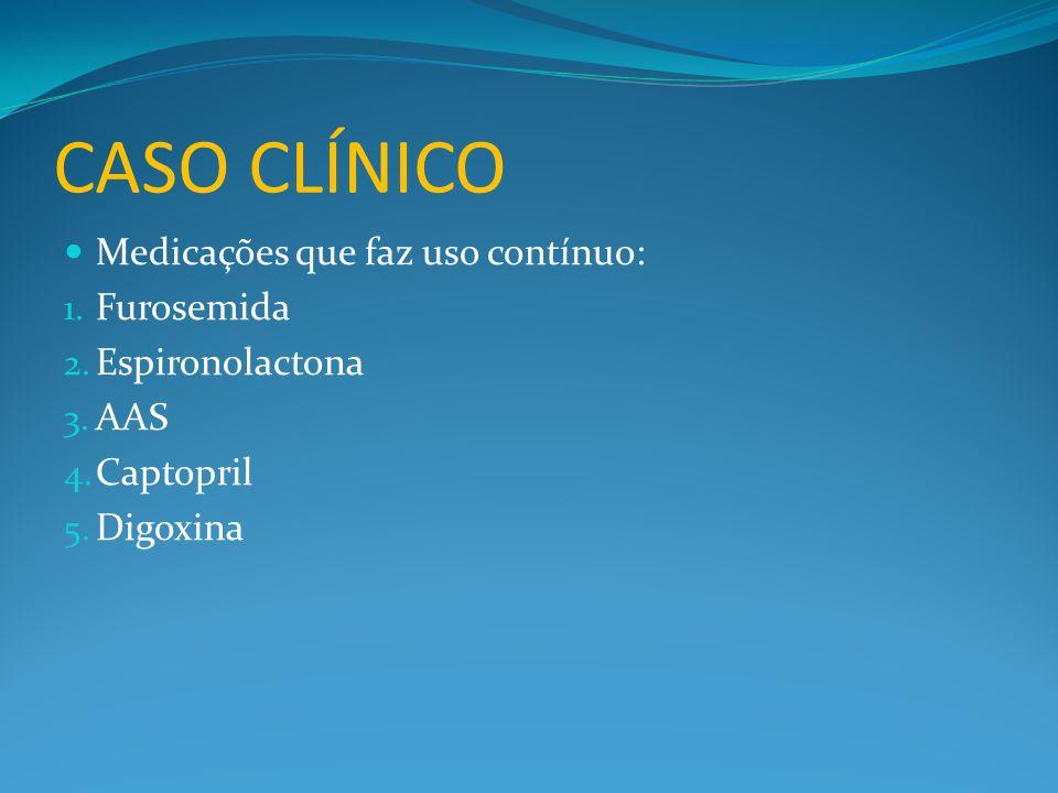 CASO CLÍNICO  Medicações que faz uso contínuo: 1. Furosemida 2. Espironolactona 3. AAS 4. Captopril 5. Digoxina