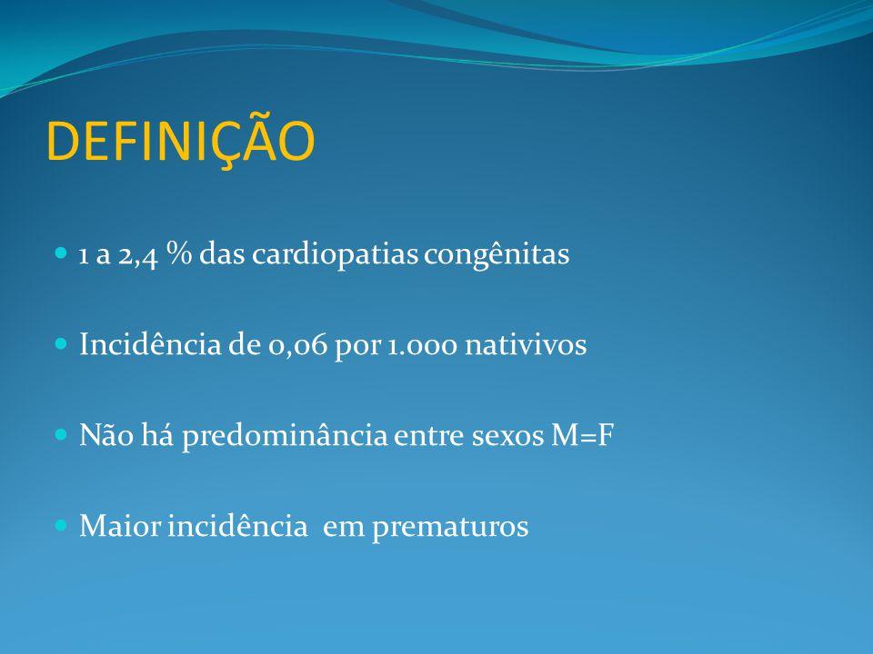 DEFINIÇÃO  1 a 2,4 % das cardiopatias congênitas  Incidência de 0,06 por 1.000 nativivos  Não há predominância entre sexos M=F  Maior incidência em prematuros