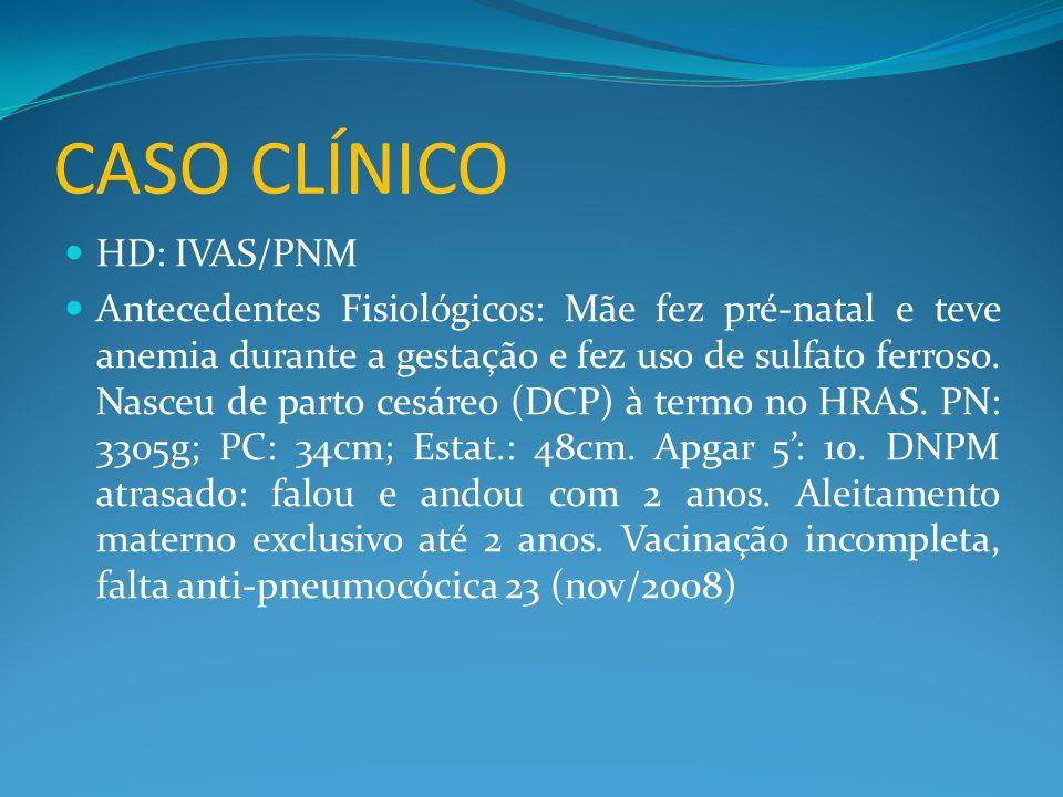 CASO CLÍNICO  HD: IVAS/PNM  Antecedentes Fisiológicos: Mãe fez pré-natal e teve anemia durante a gestação e fez uso de sulfato ferroso. Nasceu de pa