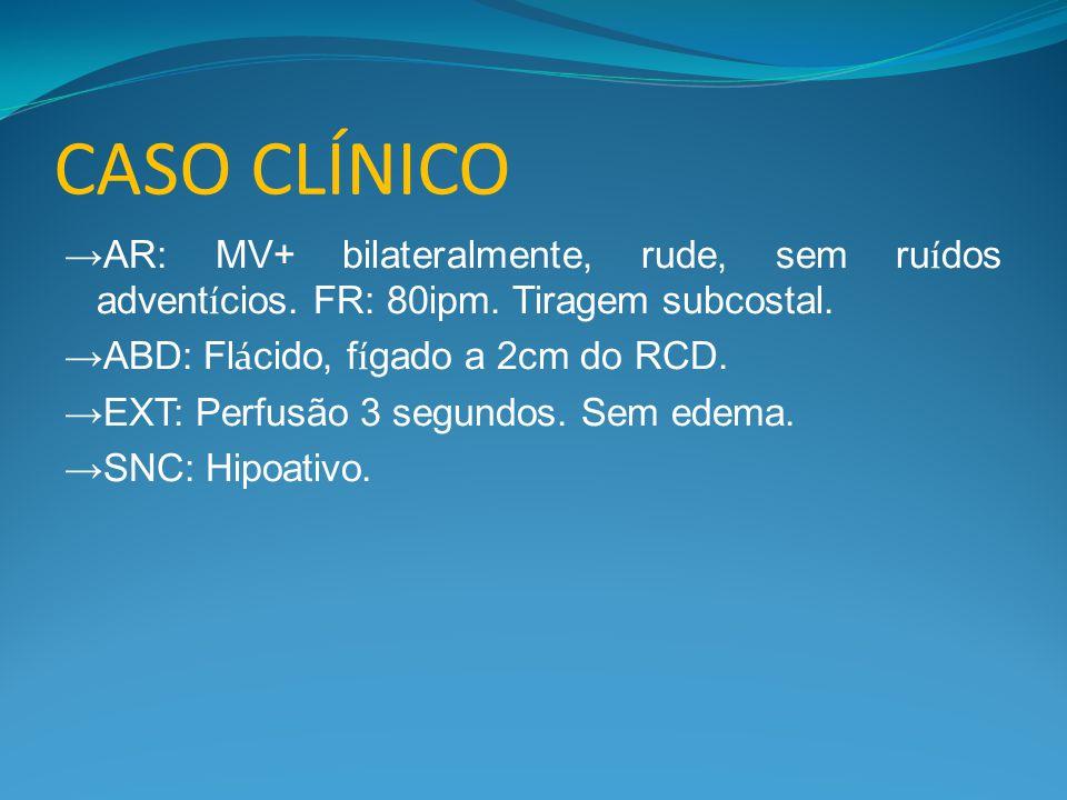 CASO CLÍNICO →AR: MV+ bilateralmente, rude, sem ru í dos advent í cios. FR: 80ipm. Tiragem subcostal. →ABD: Fl á cido, f í gado a 2cm do RCD. →EXT: Pe