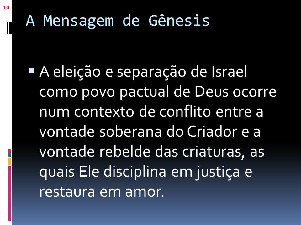 A Mensagem de Gênesis  A eleição e separação de Israel como povo pactual de Deus ocorre num contexto de conflito entre a vontade soberana do Criador