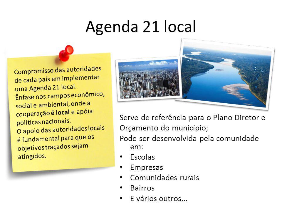 Agenda 21 local Serve de referência para o Plano Diretor e Orçamento do município; Pode ser desenvolvida pela comunidade em: • Escolas • Empresas • Comunidades rurais • Bairros • E vários outros...