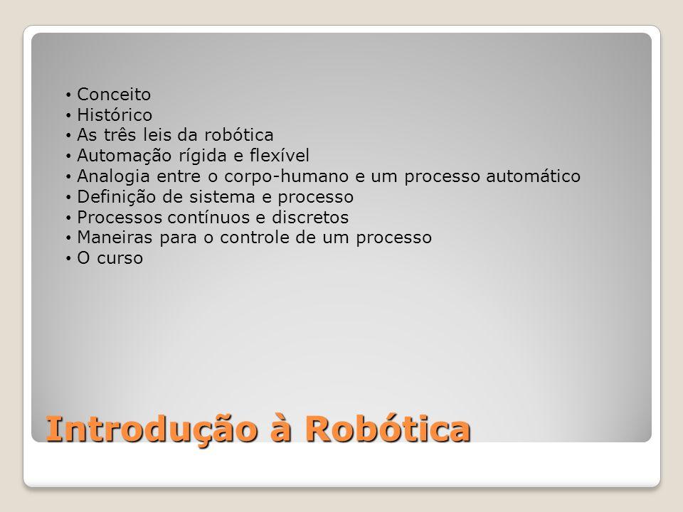• Conceito • Histórico • As três leis da robótica • Automação rígida e flexível • Analogia entre o corpo-humano e um processo automático • Definição de sistema e processo • Processos contínuos e discretos • Maneiras para o controle de um processo • O curso