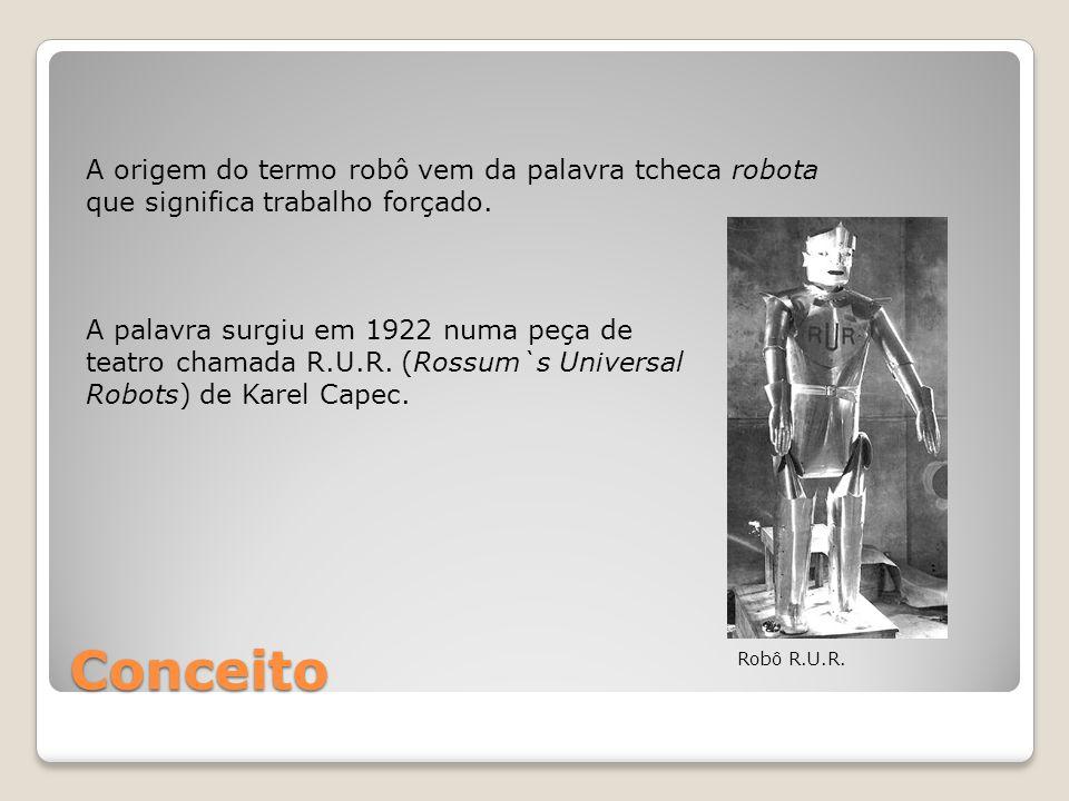 Conceito A origem do termo robô vem da palavra tcheca robota que significa trabalho forçado. A palavra surgiu em 1922 numa peça de teatro chamada R.U.