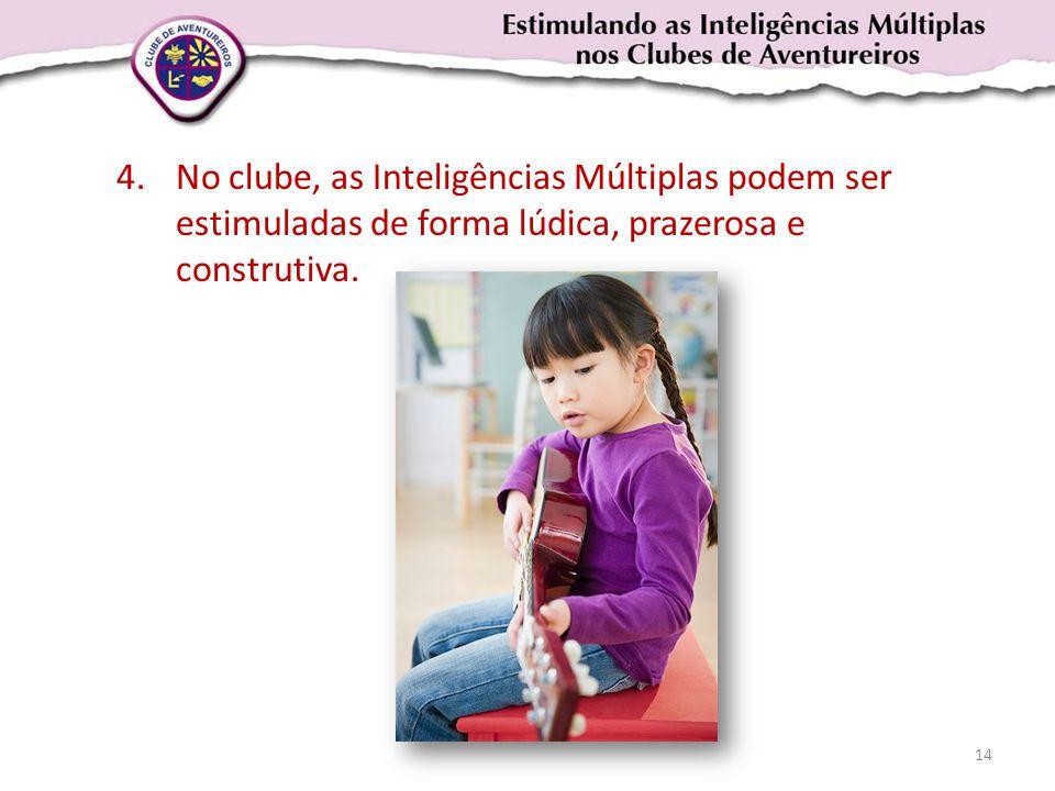 4.No clube, as Inteligências Múltiplas podem ser estimuladas de forma lúdica, prazerosa e construtiva. 14