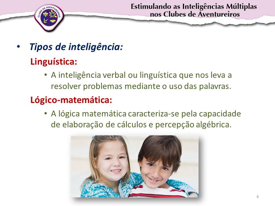 • Tipos de inteligência: Linguística: • A inteligência verbal ou linguística que nos leva a resolver problemas mediante o uso das palavras. Lógico-mat