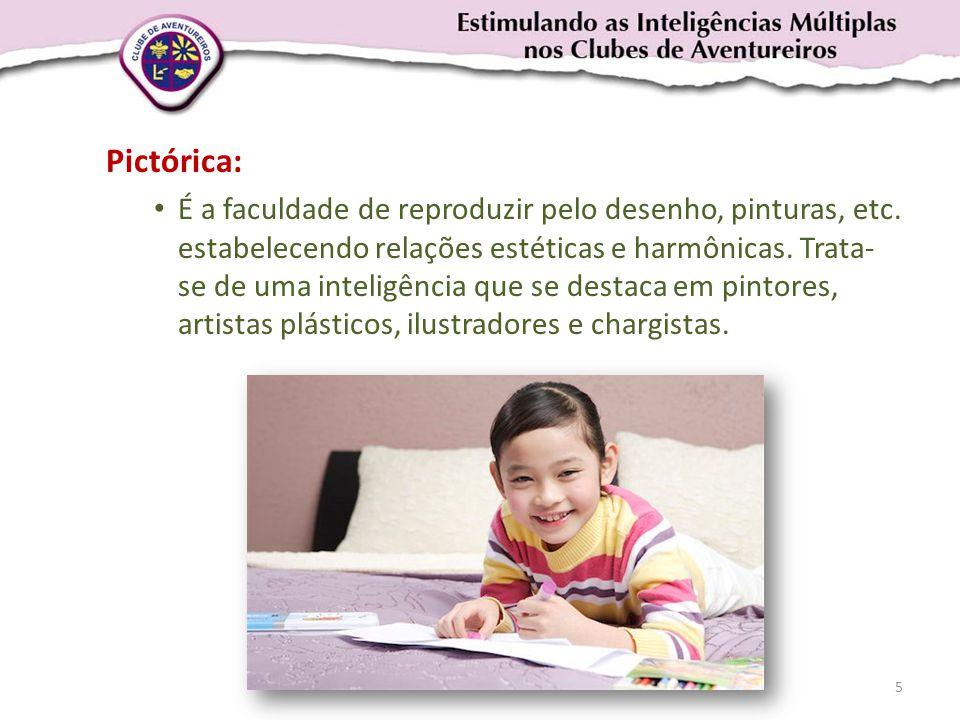 Pictórica: • É a faculdade de reproduzir pelo desenho, pinturas, etc. estabelecendo relações estéticas e harmônicas. Trata- se de uma inteligência que