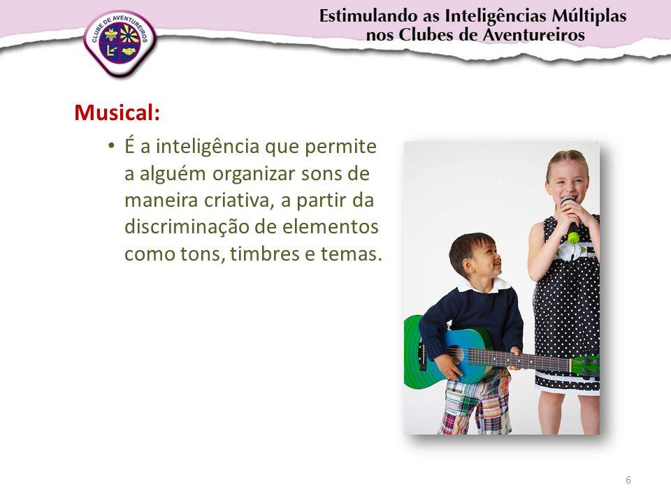 Musical: • É a inteligência que permite a alguém organizar sons de maneira criativa, a partir da discriminação de elementos como tons, timbres e temas