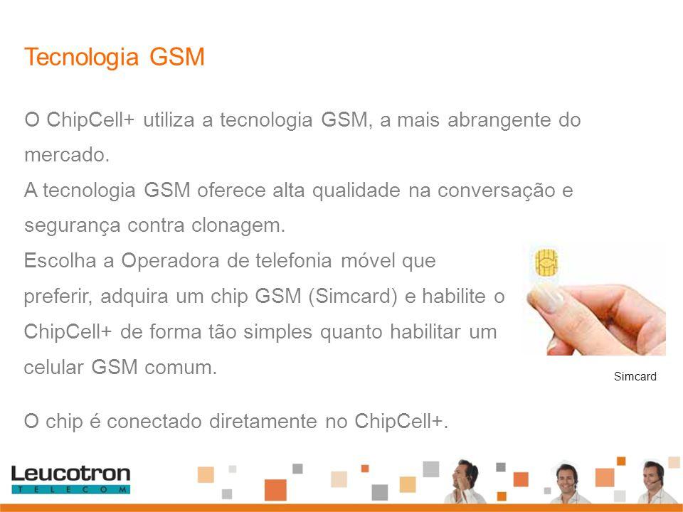 Simcard Escolha a Operadora de telefonia móvel que preferir, adquira um chip GSM (Simcard) e habilite o ChipCell+ de forma tão simples quanto habilita