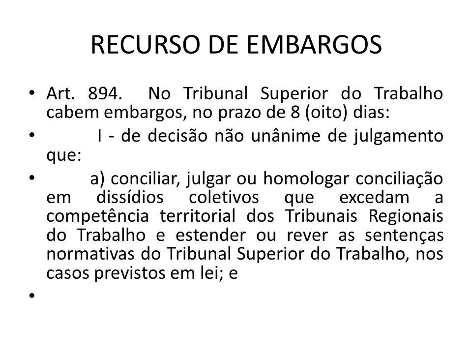 RECURSO DE EMBARGOS • Art. 894. No Tribunal Superior do Trabalho cabem embargos, no prazo de 8 (oito) dias: • I - de decisão não unânime de julgamento