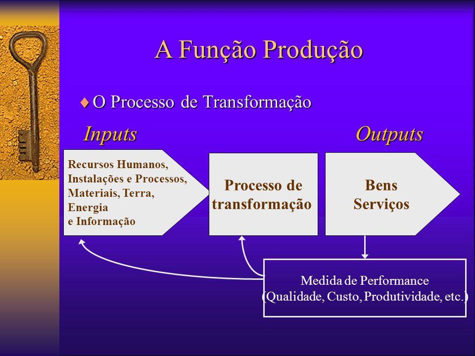 A Função Produção InputsOutputs Recursos Humanos, Instalações e Processos, Materiais, Terra, Energia e Informação Bens Serviços Processo de transformação Medida de Performance (Qualidade, Custo, Produtividade, etc.)  O Processo de Transformação