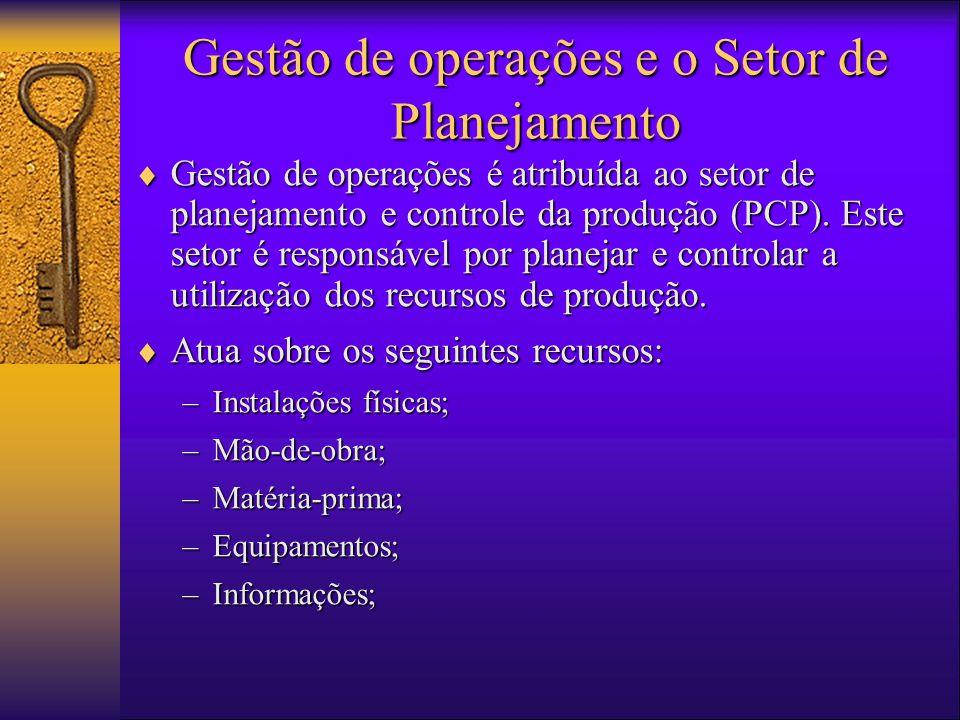  Gestão de operações é atribuída ao setor de planejamento e controle da produção (PCP).