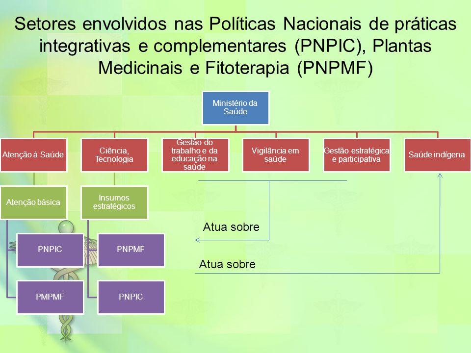 Ministério da Saúde Atenção à Saúde Atenção básica PNPIC PMPMF Ciência, Tecnologia Insumos estratégicos PNPMF PNPIC Gestão do trabalho e da educação n