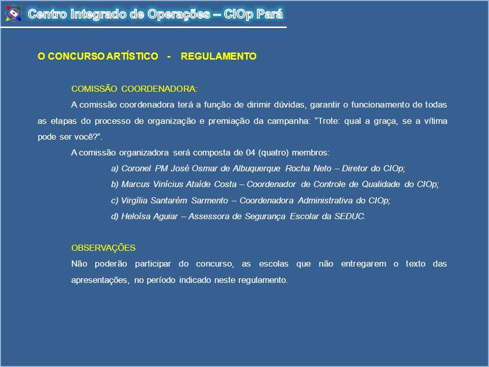 O CONCURSO ARTÍSTICO - REGULAMENTO COMISSÃO COORDENADORA: A comissão coordenadora terá a função de dirimir dúvidas, garantir o funcionamento de todas