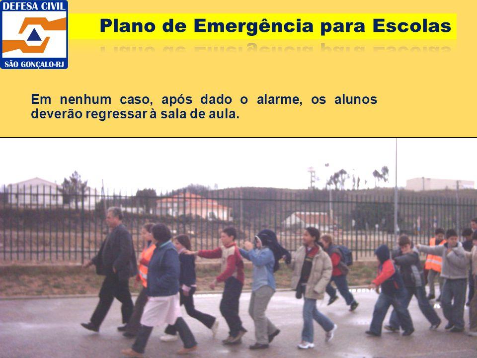 Em nenhum caso, após dado o alarme, os alunos deverão regressar à sala de aula.