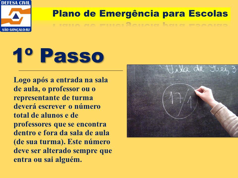 1º Passo Logo após a entrada na sala de aula, o professor ou o representante de turma deverá escrever o número total de alunos e de professores que se