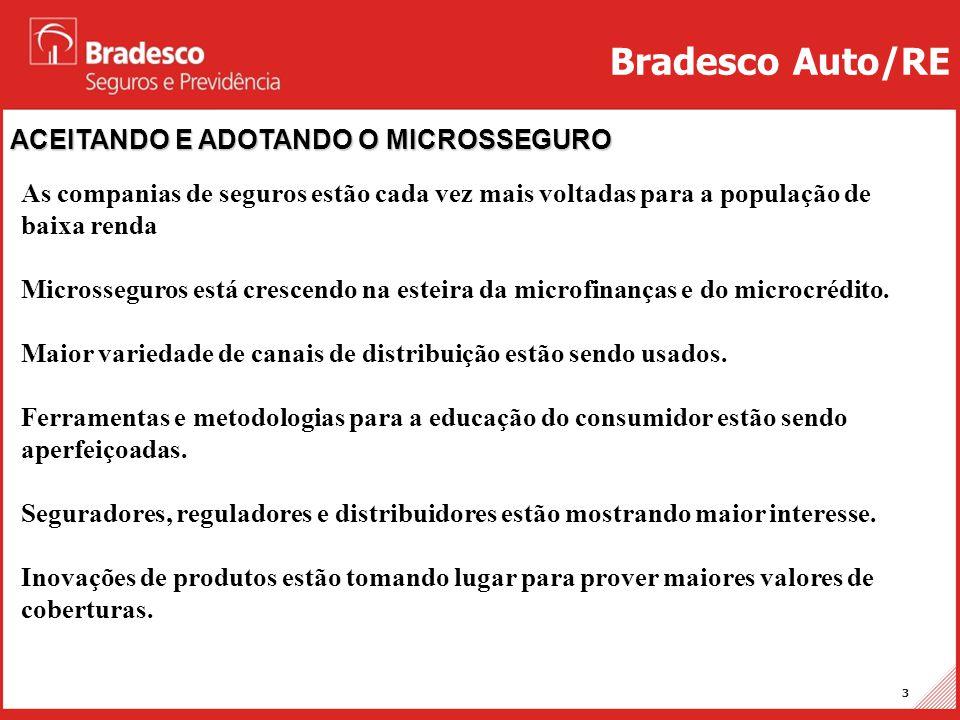 Projetos Auto/RE 14 Brasil – Familiaridade com a tecnologia Fontes: 1)CGAP-Update on Regulation of Branchless Banking in Brazil (2010); 2)BACEN–Diagnóstico Sistema Pagamento Varejo do Brasil 2008 Bradesco Auto/RE • Tecnologia comunicação: celulares representam a forma mais abrangente • Assinaturas de celulares: - Aumento de mais de 50% (2009/2007) - Dez/2009: 173.9 milhões (82.5% dos quais pré-pagos) - Abr/2011: 212,6 milhões de aparelhos ativos (Anatel) • Municípios brasileiros cobertos por telefonia móvel: - Aumento de 50% (2009/2007) - Dez/2009: 90% (5.028 municípios) • Acesso à Internet: - Subiu de 3% em 2003 para mais de 37% em 2008 - Aumento maior é esperado: 88% dos municípios (jan/2010) já têm banda larga