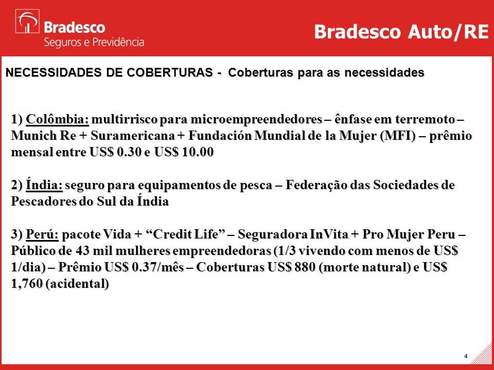 Projetos Auto/RE 4 NECESSIDADES DE COBERTURAS - Coberturas para as necessidades Bradesco Auto/RE 1) Colômbia: multirrisco para microempreendedores – ê