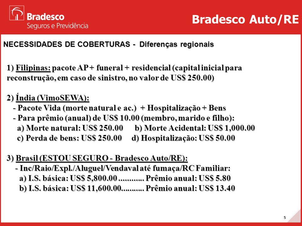 Projetos Auto/RE 5 NECESSIDADES DE COBERTURAS - Diferenças regionais Bradesco Auto/RE 1) Filipinas: pacote AP + funeral + residencial (capital inicial