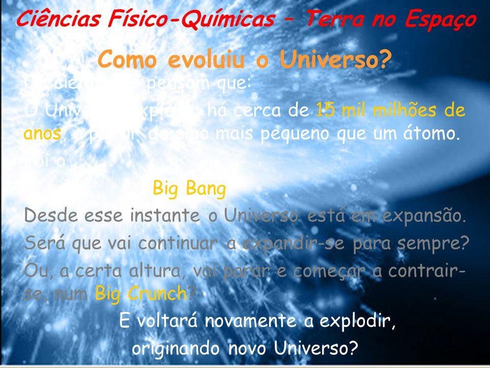 Como evoluiu o Universo? Os cientistas pensam que: O Universo explodiu há cerca de 15 mil milhões de anos, a partir de algo mais pequeno que um átomo.