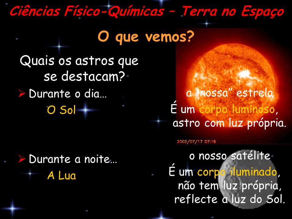 """O que vemos? Quais os astros que se destacam? DDurante o dia… O Sol DDurante a noite… A Lua Ciências Físico-Químicas – Terra no Espaço a """"nossa"""" e"""