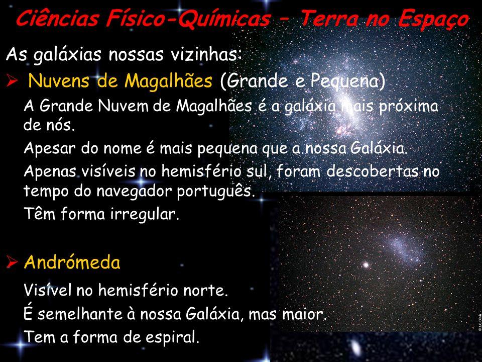As galáxias nossas vizinhas:  N Nuvens de Magalhães (Grande e Pequena) A Grande Nuvem de Magalhães é a galáxia mais próxima de nós. Apesar do nome é