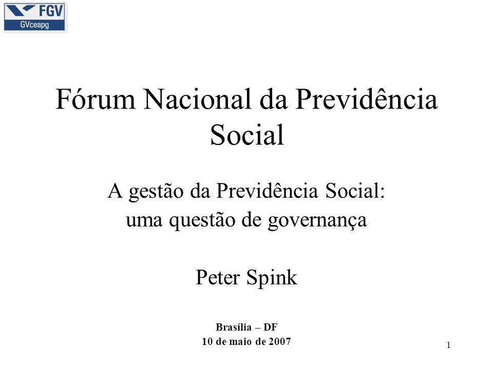 1 Fórum Nacional da Previdência Social A gestão da Previdência Social: uma questão de governança Peter Spink Brasília – DF 10 de maio de 2007