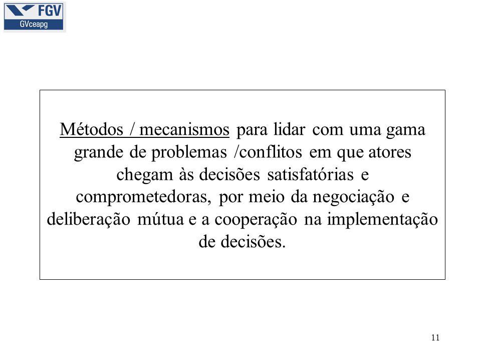 11 Métodos / mecanismos para lidar com uma gama grande de problemas /conflitos em que atores chegam às decisões satisfatórias e comprometedoras, por m