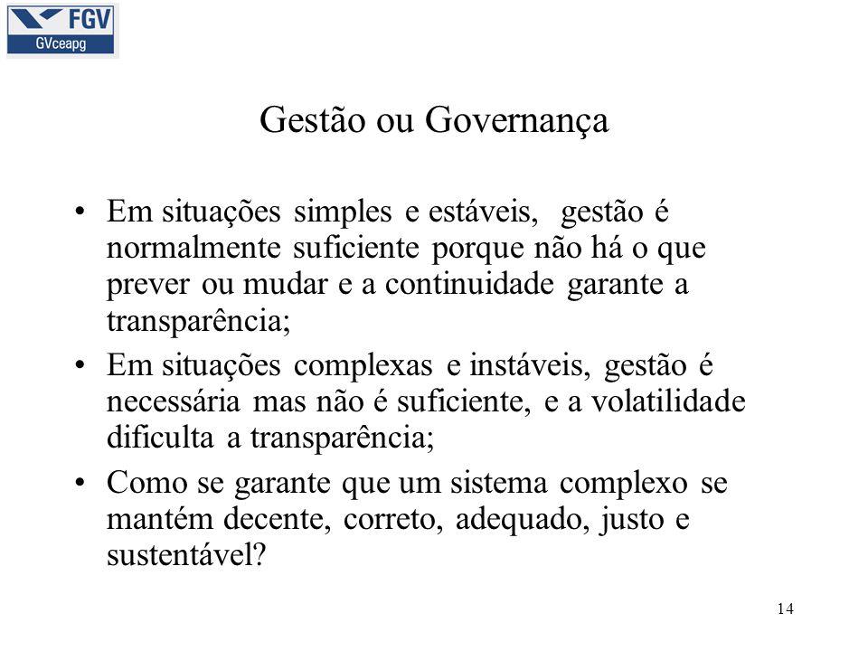 14 Gestão ou Governança •Em situações simples e estáveis, gestão é normalmente suficiente porque não há o que prever ou mudar e a continuidade garante