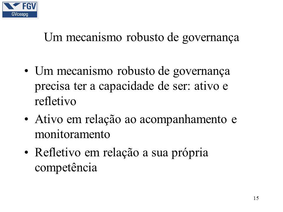 15 Um mecanismo robusto de governança •Um mecanismo robusto de governança precisa ter a capacidade de ser: ativo e refletivo •Ativo em relação ao acompanhamento e monitoramento •Refletivo em relação a sua própria competência