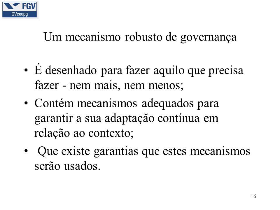 16 Um mecanismo robusto de governança •É desenhado para fazer aquilo que precisa fazer - nem mais, nem menos; •Contém mecanismos adequados para garant