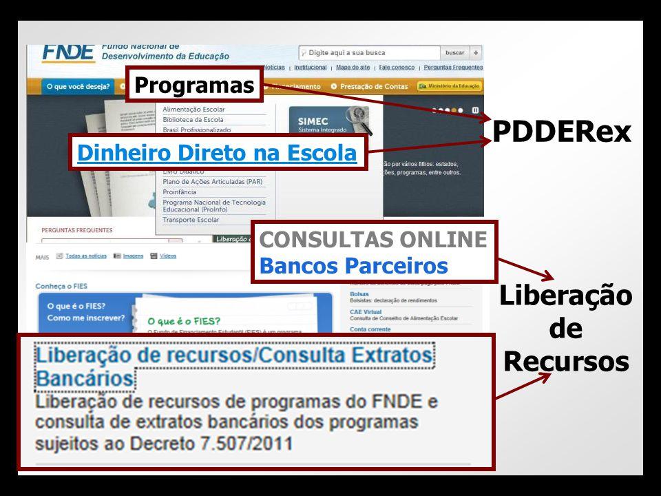 Liberação de Recursos PDDERex Dinheiro Direto na Escola Programas CONSULTAS ONLINE Bancos Parceiros