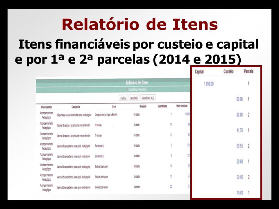 Relatório de Itens Itens financiáveis por custeio e capital e por 1ª e 2ª parcelas (2014 e 2015)